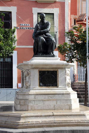 Monument to the sculptor Martinez Montanes on the Plaza del Salvador, Sevilla, Andalusia, Spain