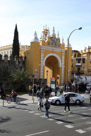 historische stadspoort Arco de la Macarena, Sevilla, Andalusië, Spanje Redactioneel