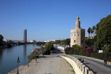 landmark Torre de Oro - Golden Tower, Seville, Andalusia, Spain