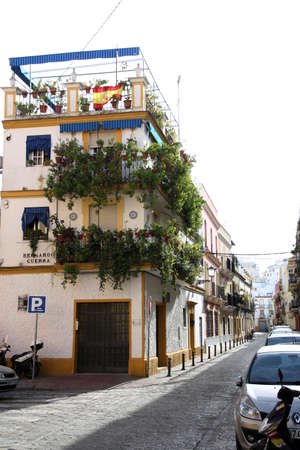 Residential house in the old town of Triana district, Seville, Andalusia, Spain