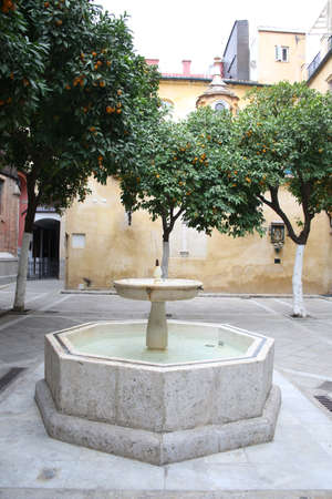 Fountain in the courtyard of the convent Brotherhood of the Passion, Sevilla, Andalusia, Spain