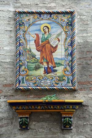 Wall picture from Tiles of the Martyr Saint Pancras, Seville, Andalusia, Spain