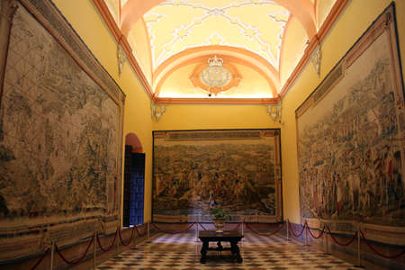 Royal Palace Real Alcazar - medieval tapestry in the Salon de los Tapices, Sevilla, Andalusia, Spain 写真素材 - 109377389