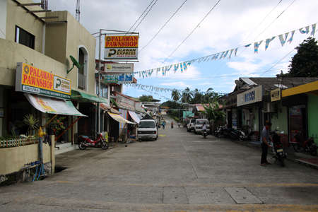 Shopping street in the town center, Pintuyan, Panaon Island, Southern Leyte, Philippines Redakční