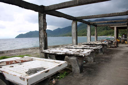 Rotten remnants of the former covered market,, Pintuyan, Panaon Island, Southern Leyte, Philippines