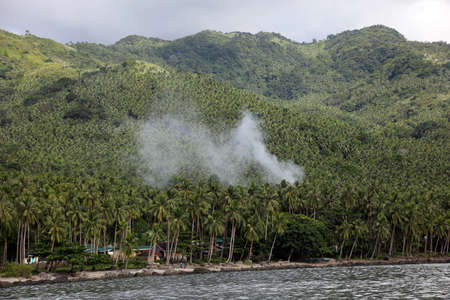 Village under Palm trees, Pintuyan, Panaon Island, Southern Leyte, Philippines