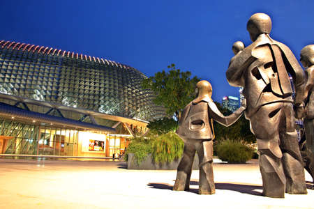 Sculpture Happy Family of Five by Chua Boon Kee at the front of the Esplanade Theater, Singapore Editorial