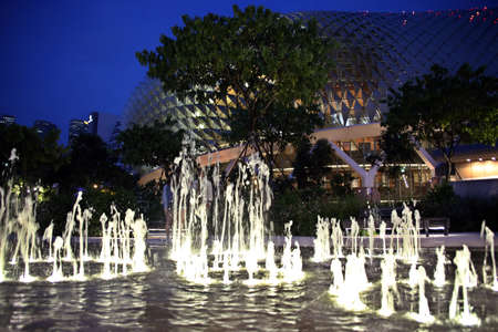 Spring fountain in front of the Esplanade Theater, Singapore