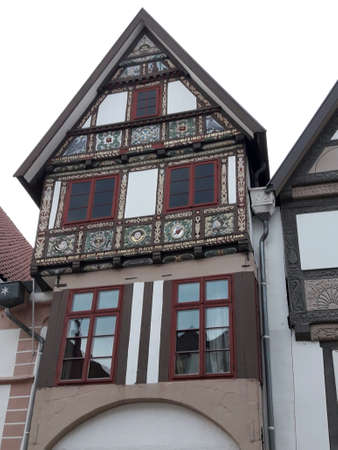 Historic town house with elaborate carvings on the gable, Lemgo Stock Photo