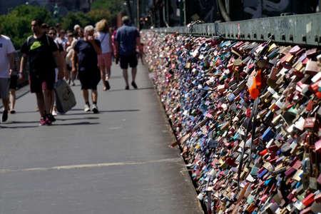 Love locks on the Hohenzollern bridge, Cologne, North Rhine-Westphalia, Germany Stock fotó