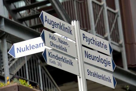 Signpost in the University Hospital, Cologne, North Rhine-Westphalia, Germany
