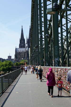 Love locks on the Hohenzollern bridge, Cologne, North Rhine-Westphalia, Germany Stock fotó