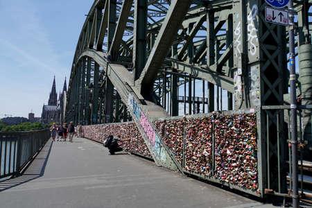 Love locks on the Hohenzollern bridge, Cologne, North Rhine-Westphalia, Germany