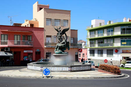 San Miguel fountain in the center of Tazacorte, La Palma, Canary Islands, Spain