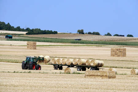 harvested cereal field - straw bales are collected, Mechernich, North Rhine-Westphalia, Germany,