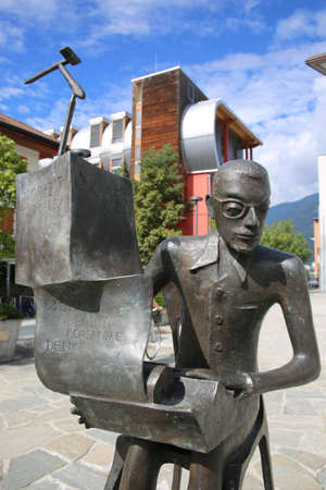 Norbert Kaser monument on town hall square, Brunico, South Tyrol, Italy Editorial