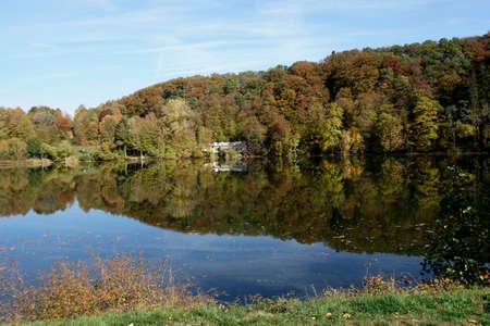 Maar in the Eifel town of Ulmen, Rhineland-Palatinate, Germany
