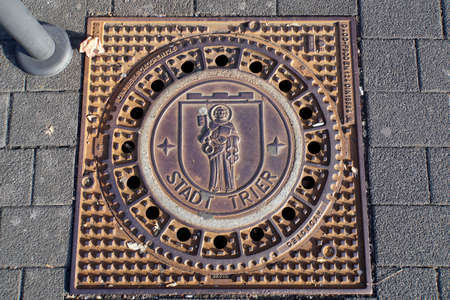 Canal cover with the city coat of arms Trier, Rhineland-Palatinate, Germany Stock Photo