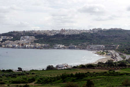 view from the Marfa Ridge on Mellieha and the bay of the same name, Malta Stock Photo
