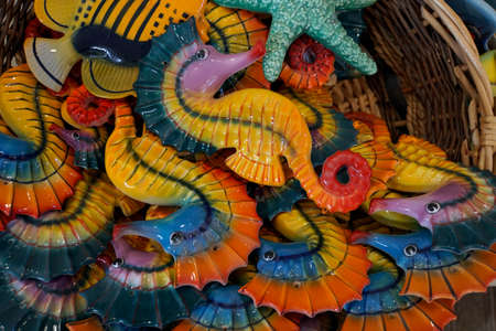 typical Maltese glass art - Seahorses made of glass, Malta