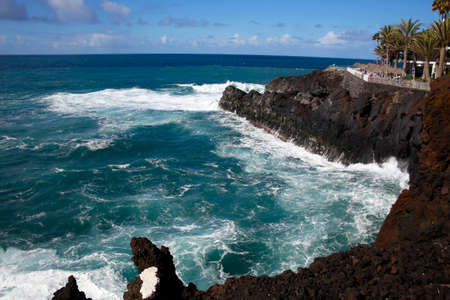 whitecaps on the waves on the rocky coast at Puerto Naos, Los Llanos de Aridane, La Palma, Canary Islands, Spain