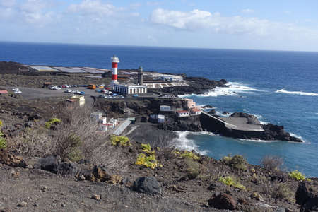 view on salt pans and the lighthouse Faro de Fuencaliente, La Palma, Canary Islands, Spain