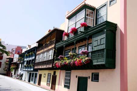 Tourists attraction balconies of Avenida Maritima, Santa Cruz de la Palma, La Pama, Canary Islands, Spain