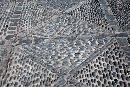 artfully laid black pebbles, Santa Cruz de la Palma, La Palma, Canary Islands, Spain