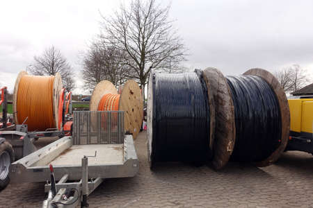 Rollers with fiber optic cable for laying in structurally weak areas, North Rhine-Westphalia, Germany