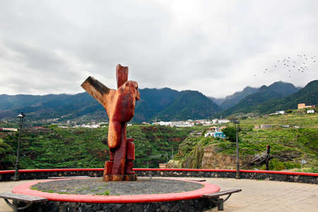 Wood sculpture The orator - El Orador - at the lookout point El Carmen Canopus, Santa Cruz de La Palma, Canary Islands, Spain