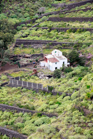 view from the viewpoint Mirador del Carmen on a farmhouse in the gorge of the same name, Santa Cruz de La Palma, Canary Islands, Spain Stock Photo