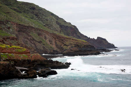 Surf on the rocky coast at La Fajana, La Palma, Canary Islands, Spain