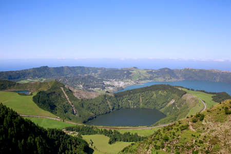 Viewpoint Miradouro da Boca do Inferno - View of Caldeira do Alferes, Sete Cidades, Sao Miguel, Azores, Portugal