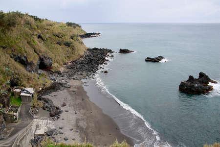 Viewpoint Ribeira das Tainhas overlooking the black sand beach, Sao Miguel, Azores, Portugal Reklamní fotografie