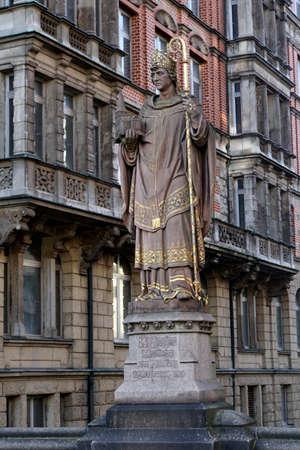 Archbishop Ansgar statue on the Trostbruecke, Hamburg, Germany