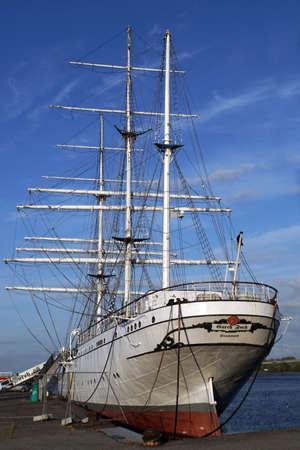 Museum ship Gorch Fock I in the harbor of Hanseatic city Stralsund, Mecklenburg-Vorpommern, Germany