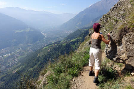 The Vellau Rock Trail, spectacular hiking trail for those who don't suffer from vertigo between the Hochmuth cable car mountain station and Vellau, Tyrol, South Tyrol, Italy