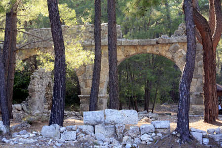 Ruins of the ancient port city of Phaselis in Lycia, Kemer, Turkey Banco de Imagens