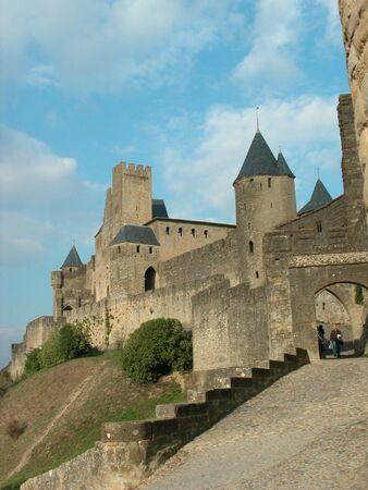 hun toevlucht nemen in Carcassonne, Frankrijk Stockfoto