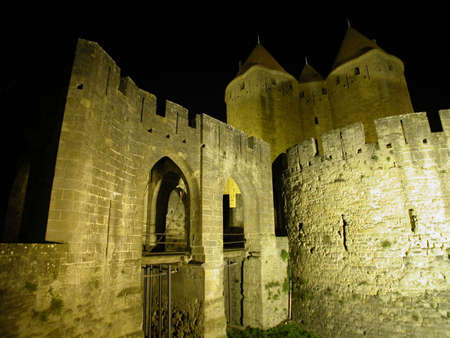 Nacht weergave in Carcassonne, Frankrijk Stockfoto - 4841098