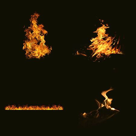 Flame material, black background flame overlay mode
