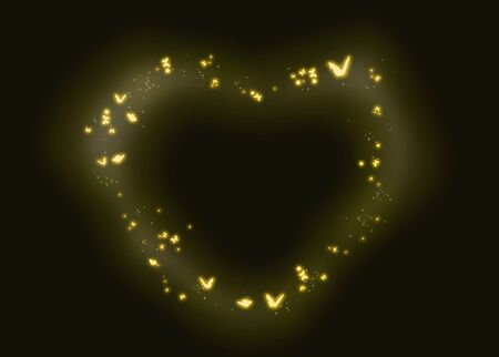Firefly superimposed, black background fireflies, 写真素材