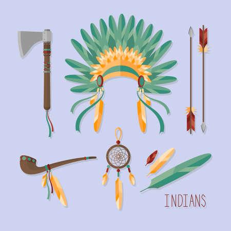 Indian set vector illustration. Illustration
