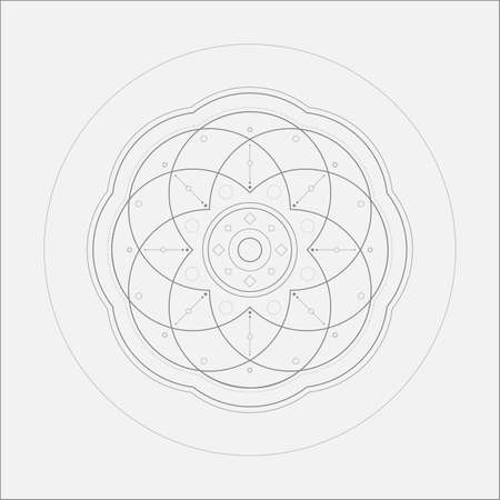 metaphysical: Circle Tech Flower Mandala Minimal Art Odd Design Stock Photo