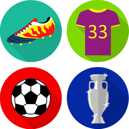 football boots: Colorful flat icons: football boots, T-shirt, ball and champions cup.