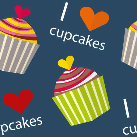 brownie: Seamless pattern. I love cupcakes Illustration