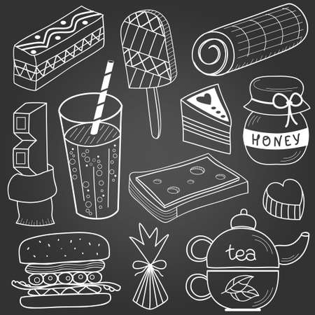 honey cake: Food and drink set. Black and white pencil drawing Illustration