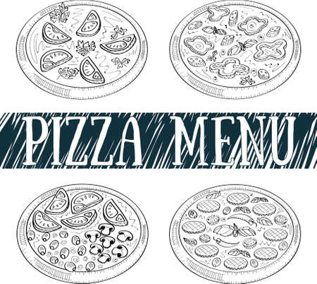 italian kitchen: Pizza menu. Italian kitchen. Illustration