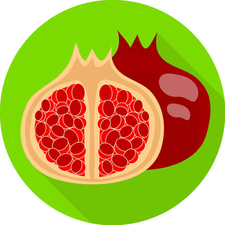juicy: Juicy pomegranate. Colorful flat icon