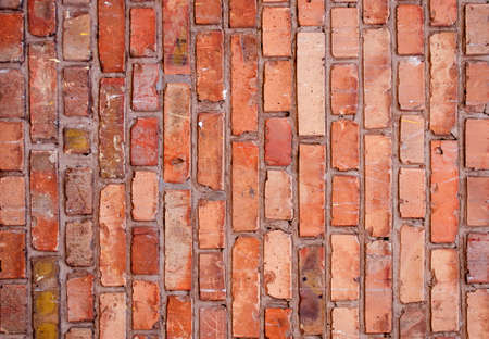 Brick wall texture, close up. Background with brickwork. The reddish surface of the building with grunge effect. Abstract wallpaper, landscape orientation.